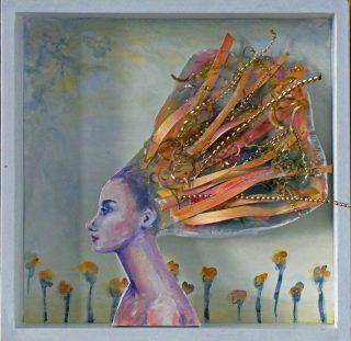 1 Kunst im Kasten Sommerschönheit,  Materialmix, Metall, Acryl auf Leinwand im Holzkasten, 2019