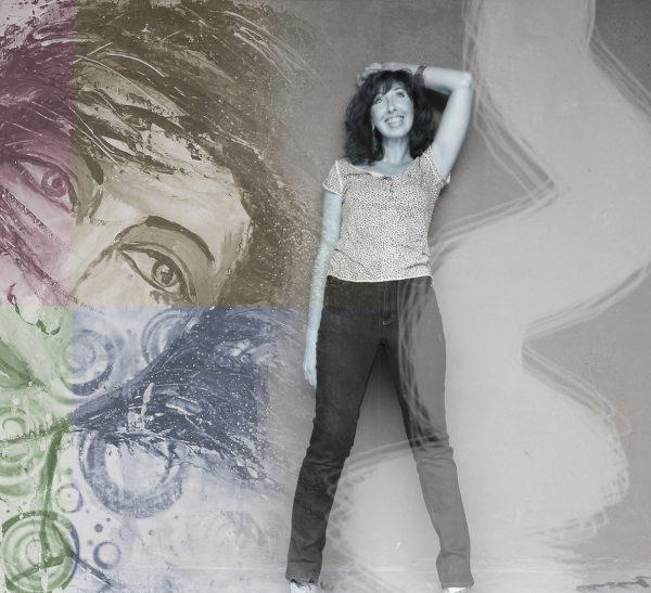 Renate Linnemeier in einer Fotocollage mit einem ihrer Werke